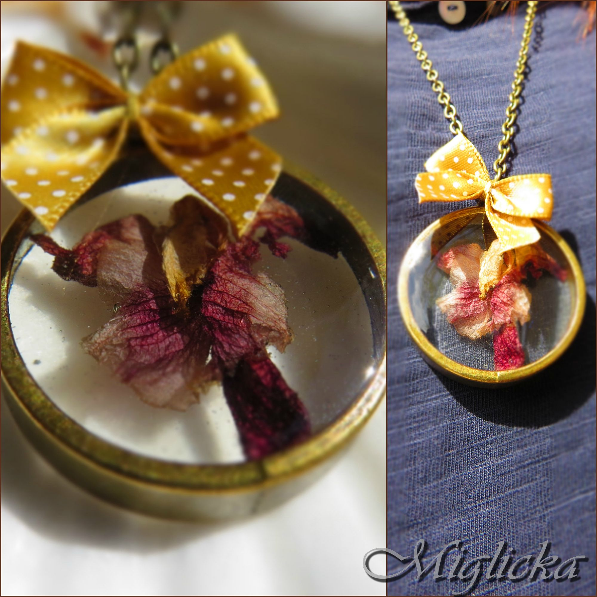 Open back necklace with orchid http://www.miglichka.com/