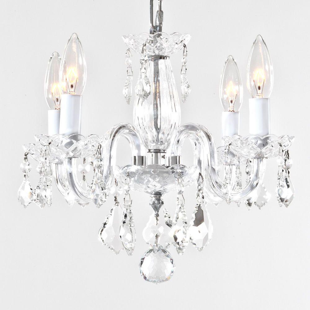 Mini Small Crystal Chandelier Elegant Chic Design 4 Arm Light Fixture Silver
