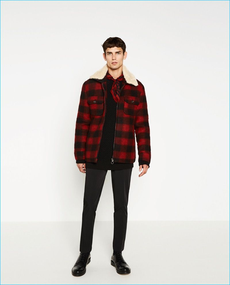 8ea2ca0a Arthur Gosse rocks a red and black buffalo check jacket from Zara Man.