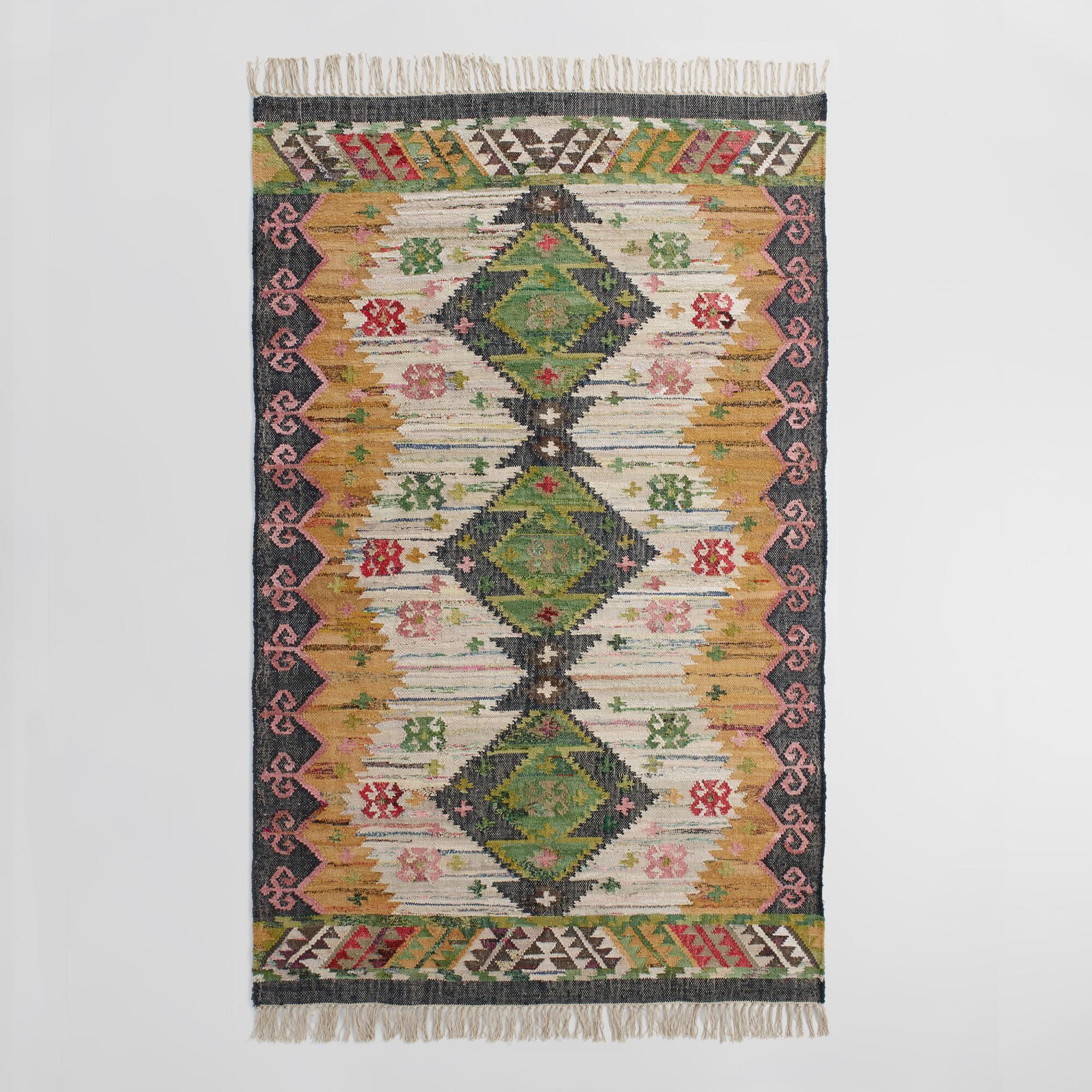 5'x8' Boho Woven Cotton Kilim Alina Area Rug: Multi