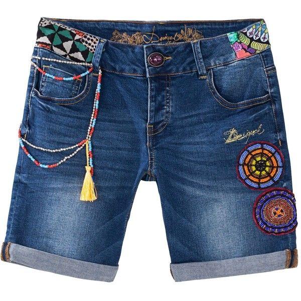 Desigual Africa Bermuda Jeans ($105) ❤ liked