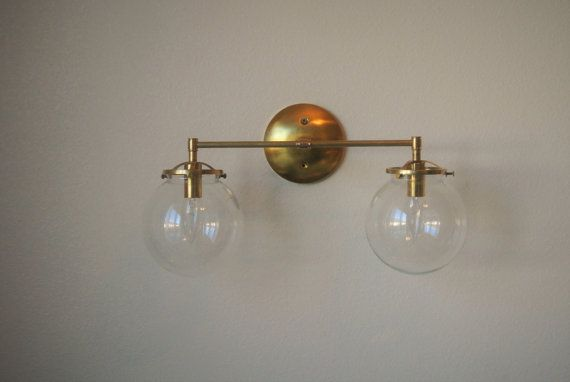 Clear Glass Globe With Raw Brass Hardware Great Bathroom Vanity