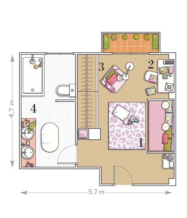 Plano dormitorio con bano incorporado 600 for Plano habitacion 3d