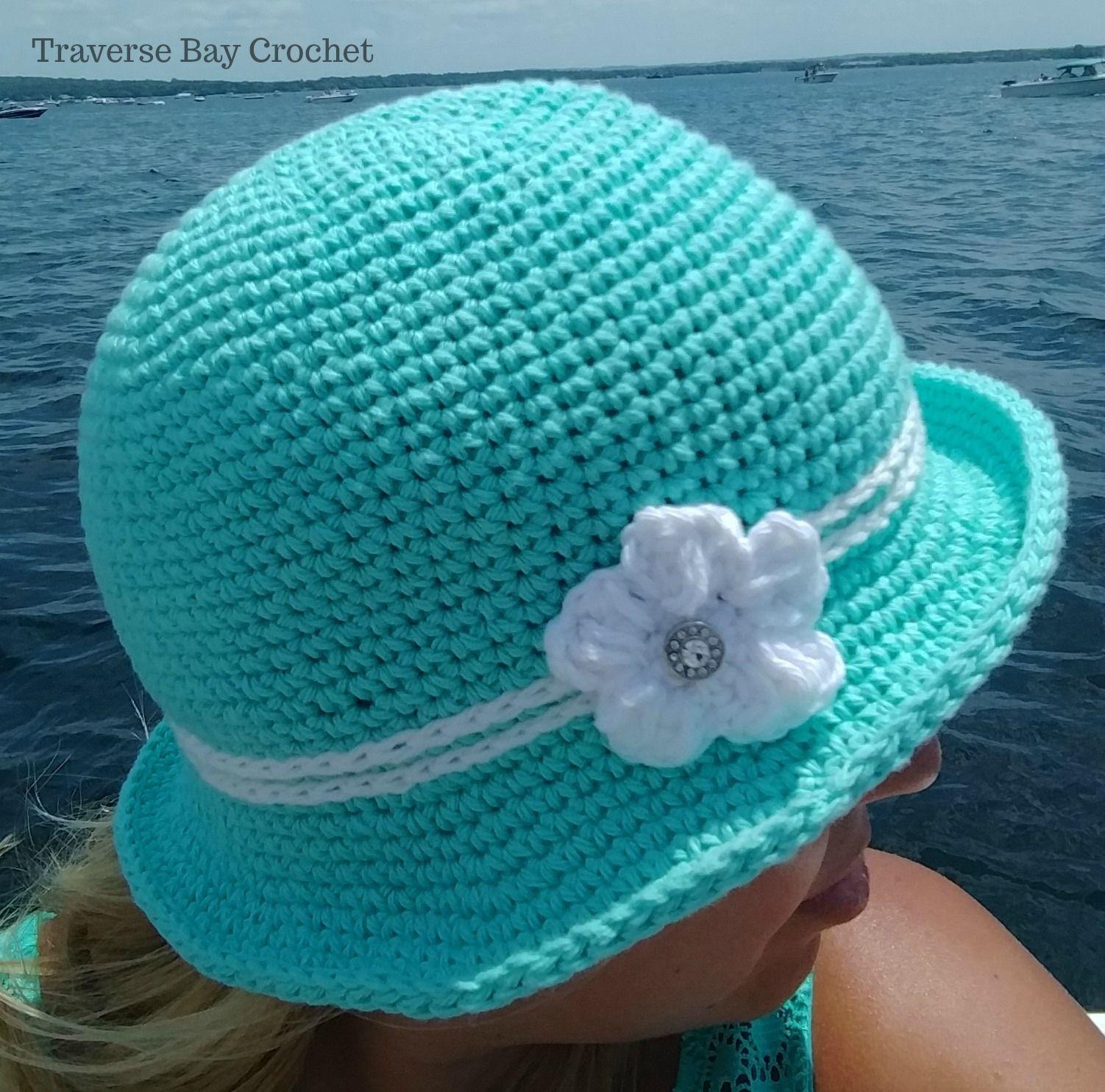 Crochet Elegant Sunhat 5 sizes - | Ganchillo | Pinterest | Gorros ...