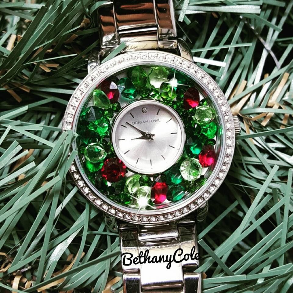 Origami owl watch in silver christmas themed charms via origami owl watch in silver christmas themed charms via birthstone january august and jeuxipadfo Gallery