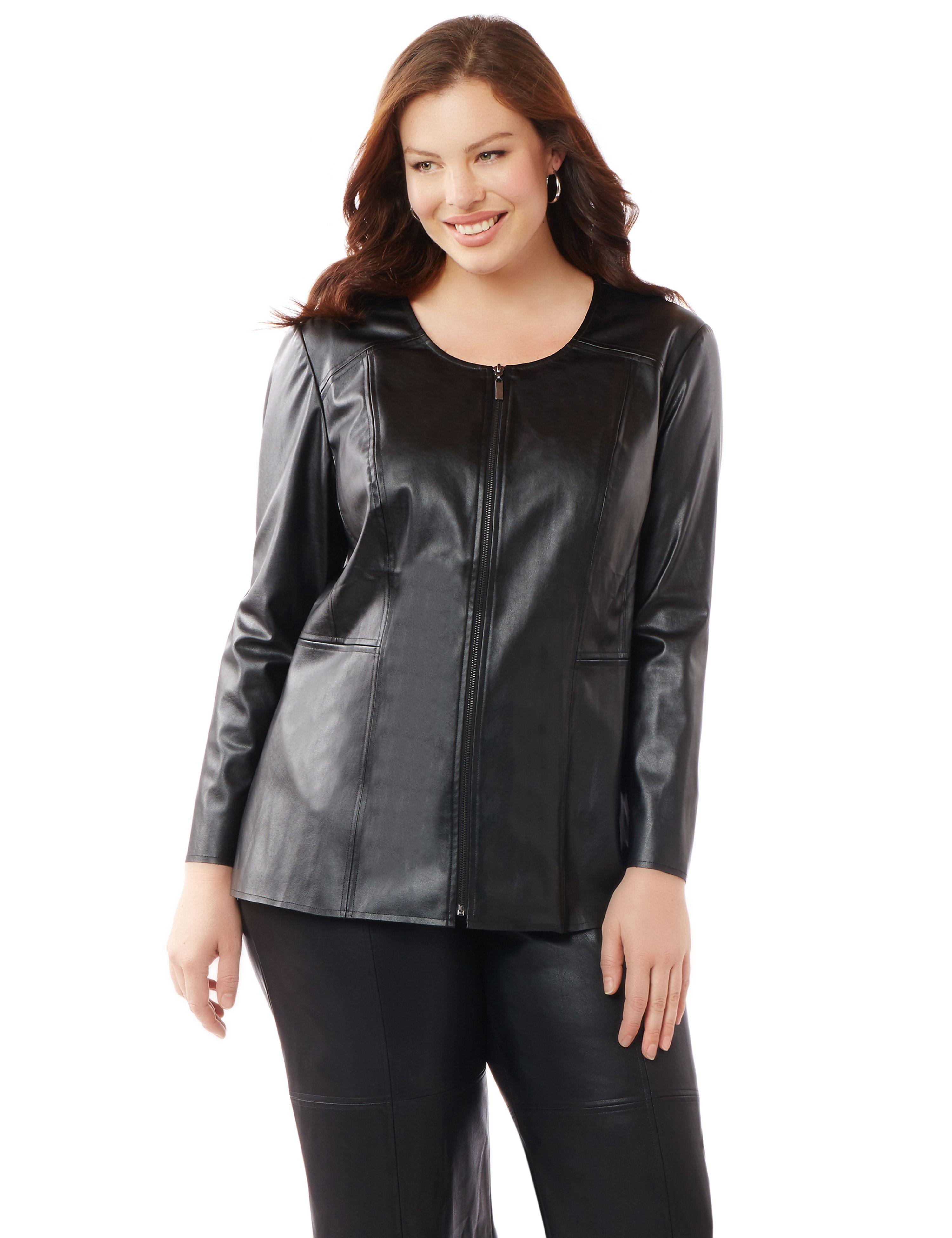Black Label Leatherette Jacket Leather jacket, Pocket