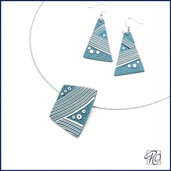 Necklace and Earrings Polymer Clay Nautical Blue Aqua White Stripes ...
