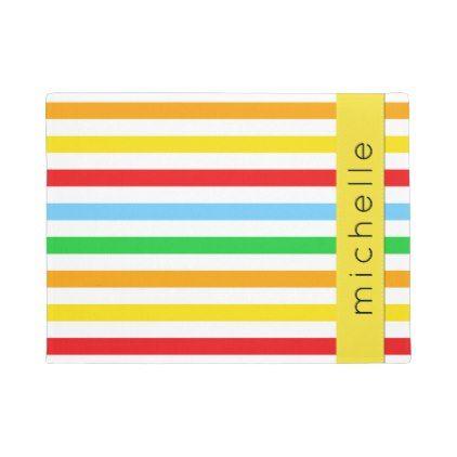 Your Name - Stripes, Parallel Lines - Red Blue Doormat Doormat - lines paper
