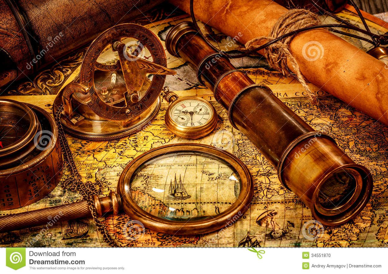 Classic Looking To Sea Telescope Image Google Search Nautical - Antiques us maps with compass