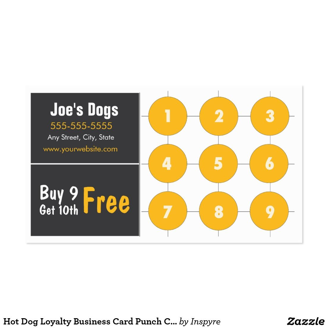 Hot Dog Loyalty Business Card Punch Card | Business Cards, Logos ...
