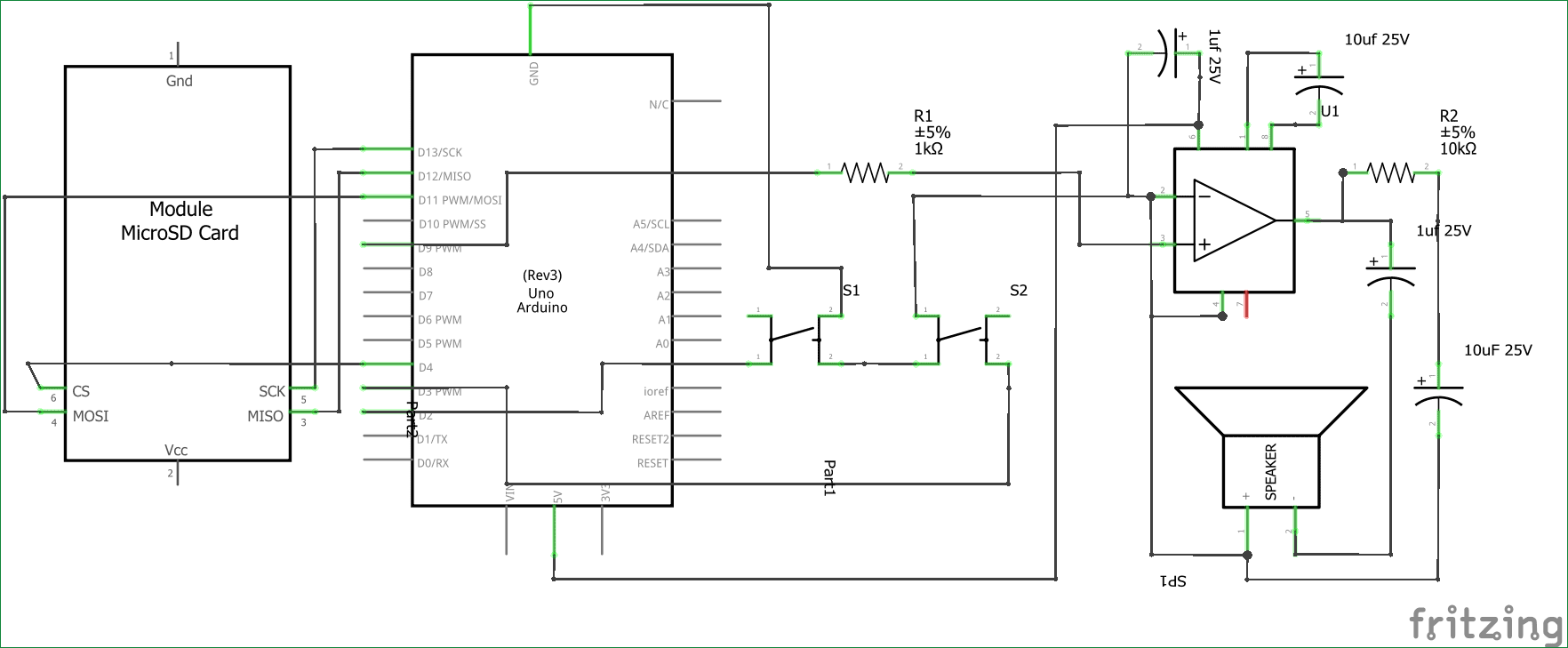 simple arduino audio player with lm386 amplifier circuit diagram [ 1764 x 729 Pixel ]