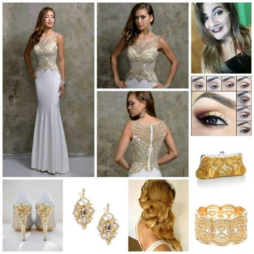 Beautiful white dress with gold