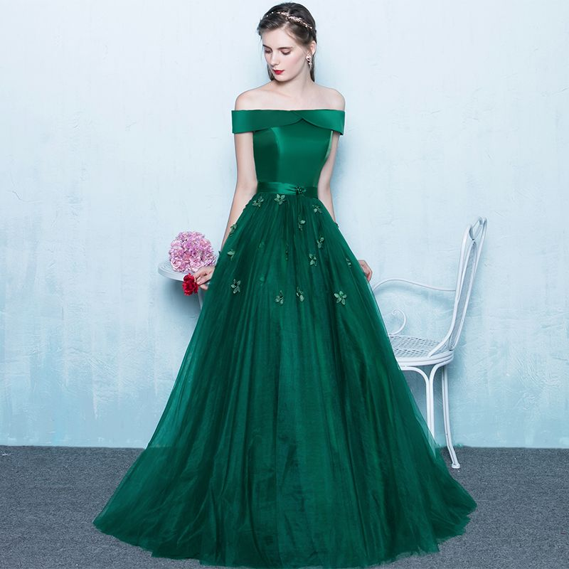 Price Tracker And History Of PotNu0027Patio Boat Neck Sleeveless Emerald Green  Prom Dresses Long Elegant Floor Length Evening Dresses Plus Size 2017