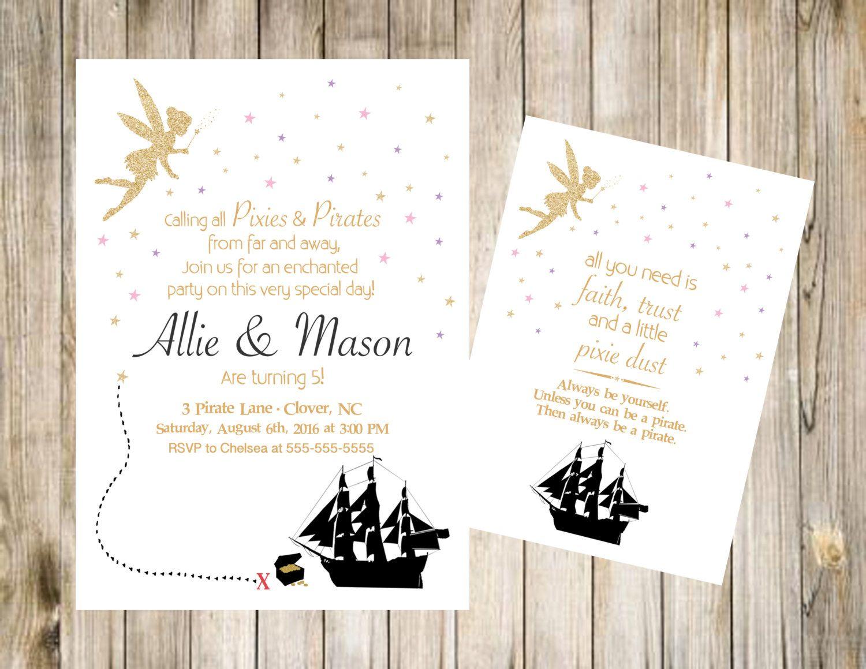Pixie and Pirate Birthday Invitation Printable Invite DIY Digital ...