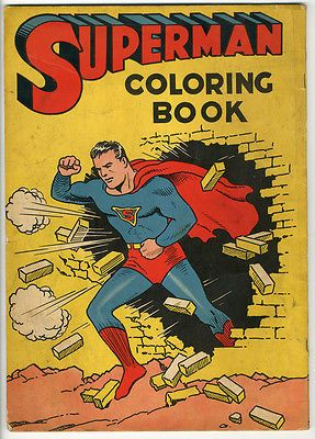 Superman 1940 Coloring Book 176 Saalfield Publishing Breaking Through A Wall Coloring Books Comic Books Art Paper Dolls