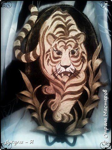 Картина панно рисунок Мастер-класс Аппликация Филигранная ключница- Тигр  МК Шпагат фото 1