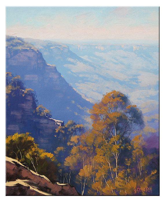 Blue Mountains Painting Landscape Painting Original Oil By Etsy Landscape Paintings Mountain Paintings Landscape Art