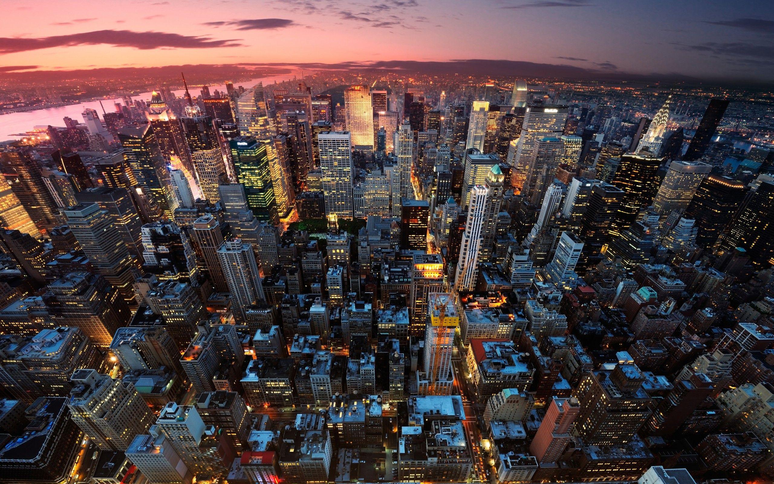 New York Manhattan Usa City Panorama Night Sunset Lights Light House Building Skyscraper Skys New York Wallpaper New York City Background Los Angeles Wallpaper
