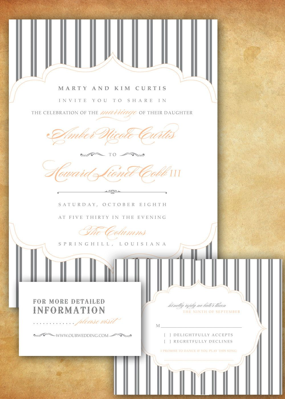 Stripes and simplicity retro wedding invitation digital design for simple but still with some flare stopboris