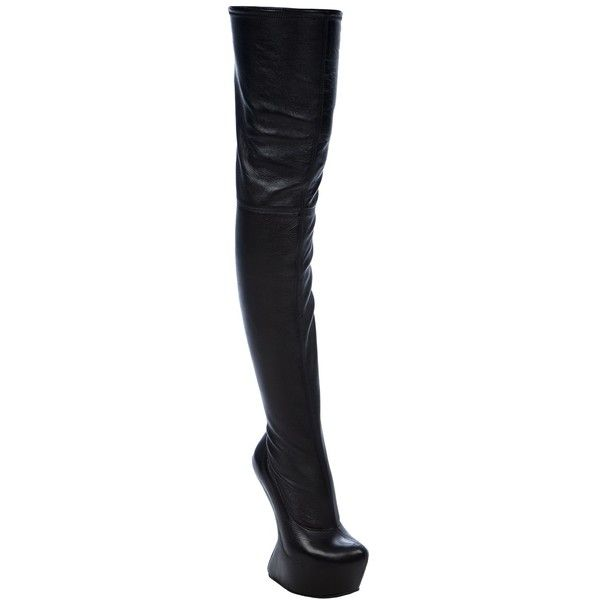 87c5db4055f98 Giuseppe Zanotti Design Heelless Thigh Boot ($840) ❤ liked on Polyvore  featuring shoes, boots, black leather over the knee boots, black platform  boots, ...