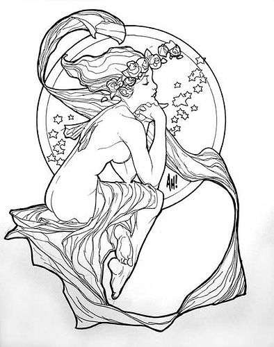 Superb Alphonse Mucha Coloring Pages