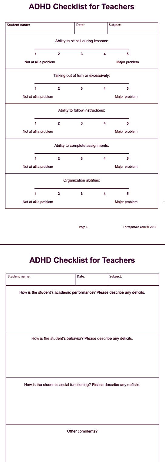 worksheet Adhd Worksheets adhd checklist for teachers preview theraphy pinterest therapy preview