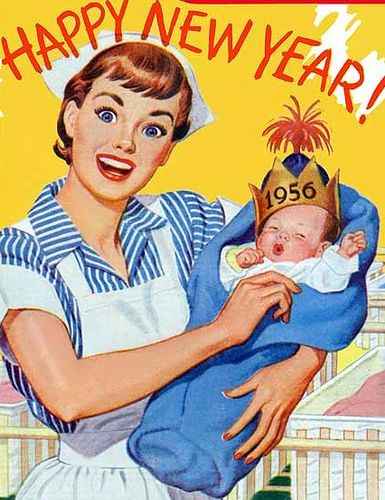 Image result for 1950s Happy New Year card uk ""