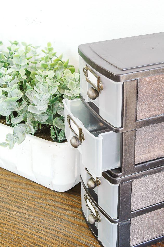 Plastic Storage Drawers Makeover Farmhouse