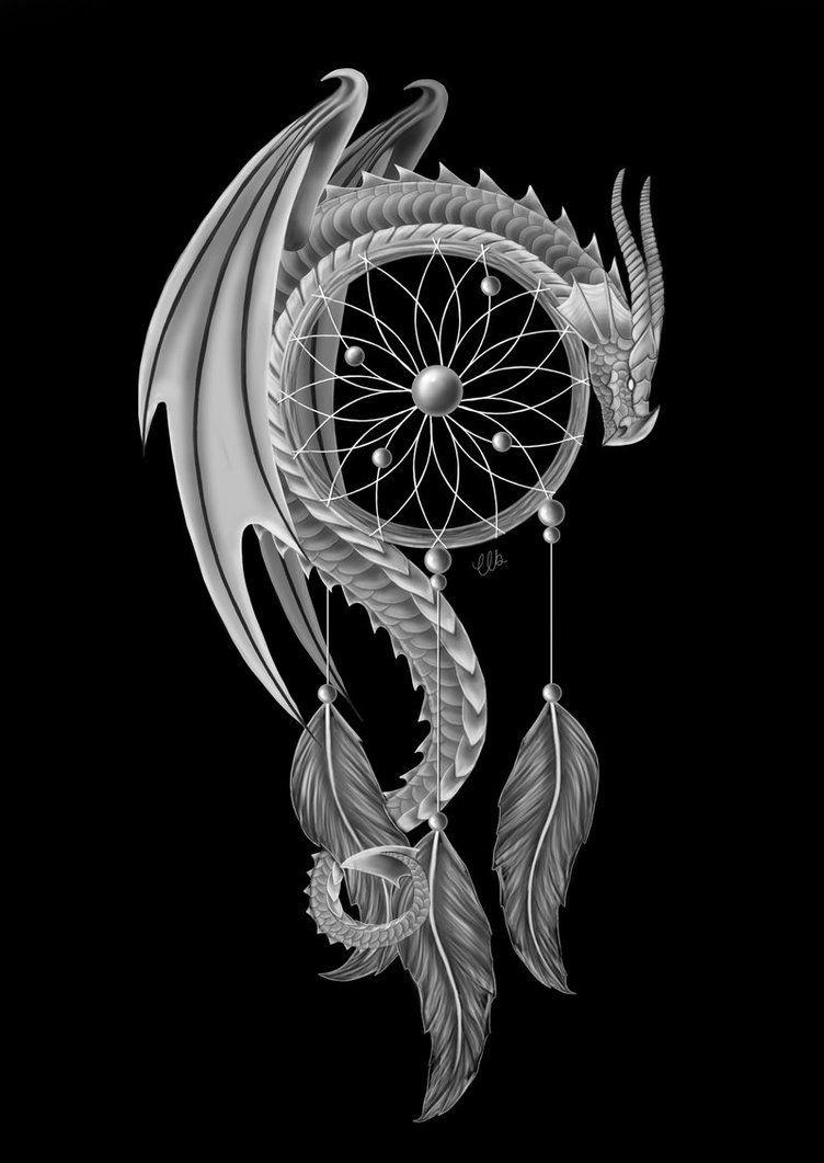 the dream guardian dragon and a dream catcher by clb raveneye on