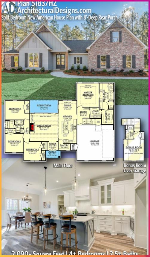 Plan 51837hz Split Bedroom New American House Plan With 8 Deep Rear Porch Plan 51837hz Split Bedro American Houses Craftsman House Plans New House Plans