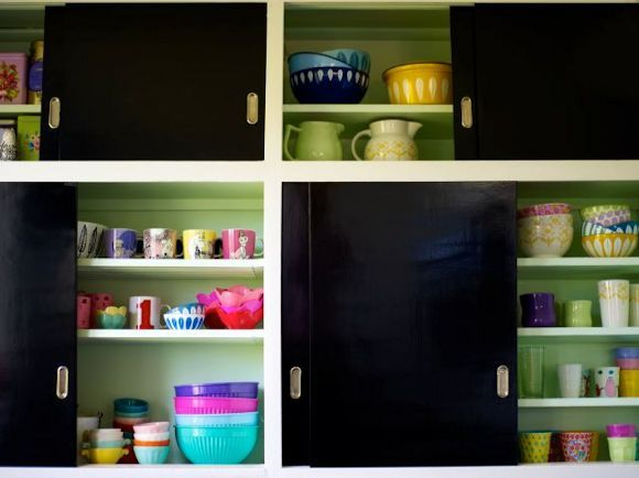 I luv the idea of painting the inside of kitchen cupboards for Cheap kitchen cupboards