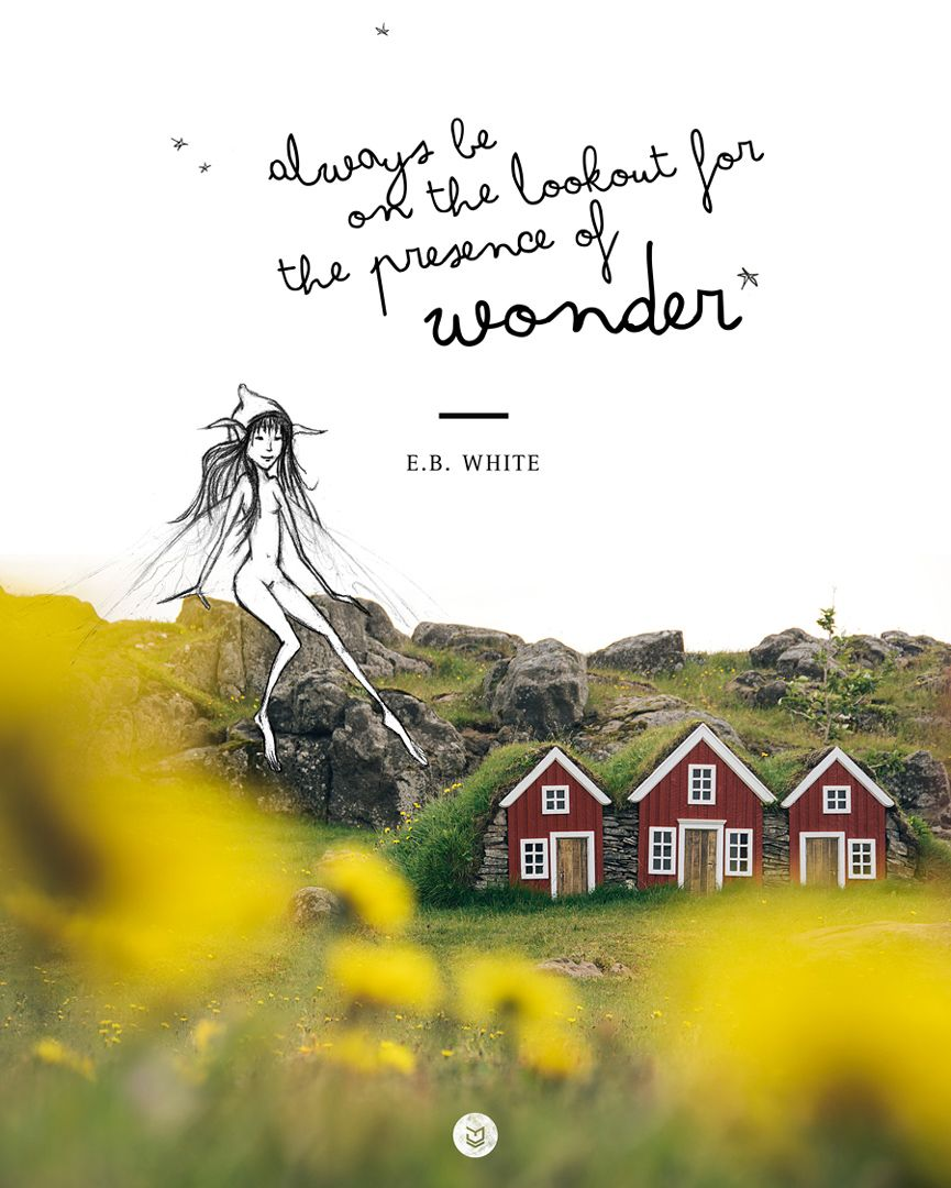 """""""Always be on the lookout for the presence of wonder."""" E"""