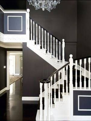 Love The Contrast In Dark Slate Grey Walls With White Wood Trims