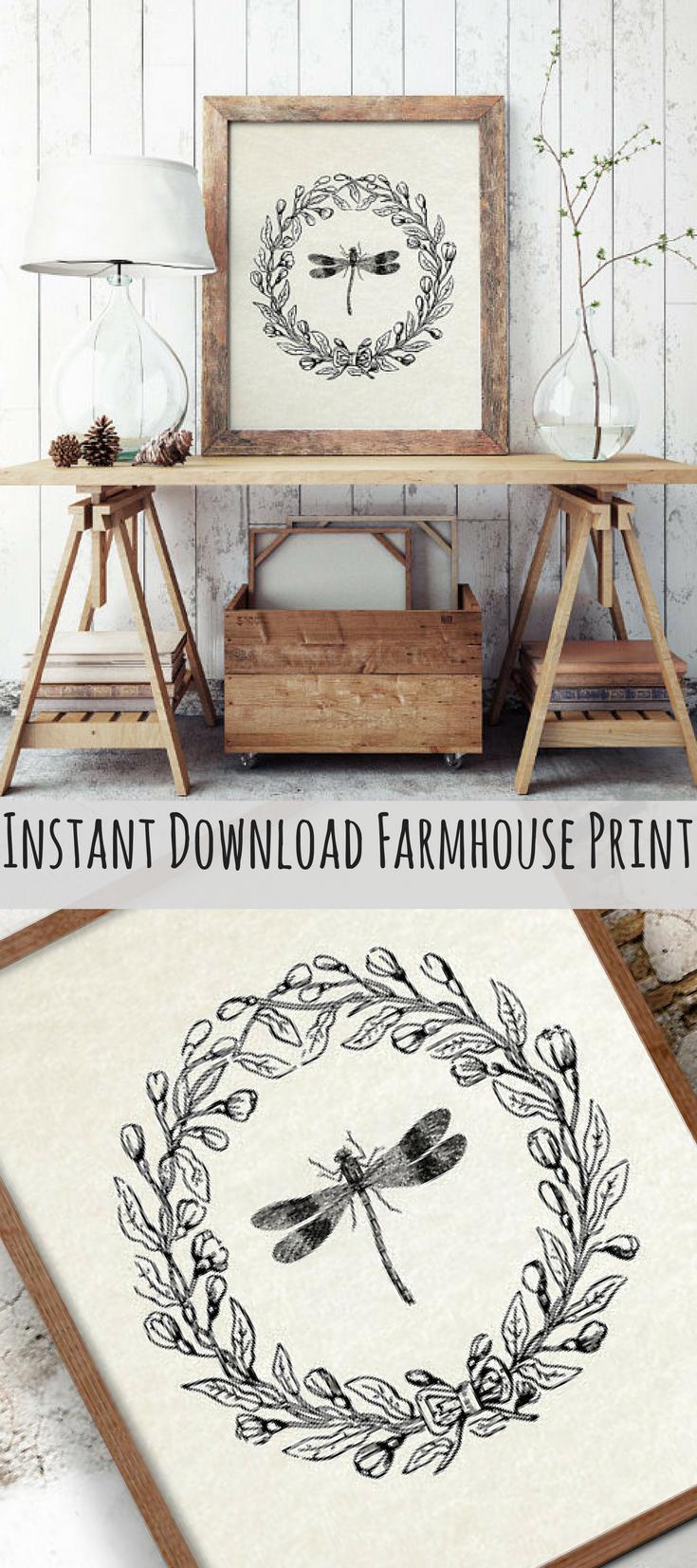 Dragon Fly Print Farmhouse Printable French Country Decor