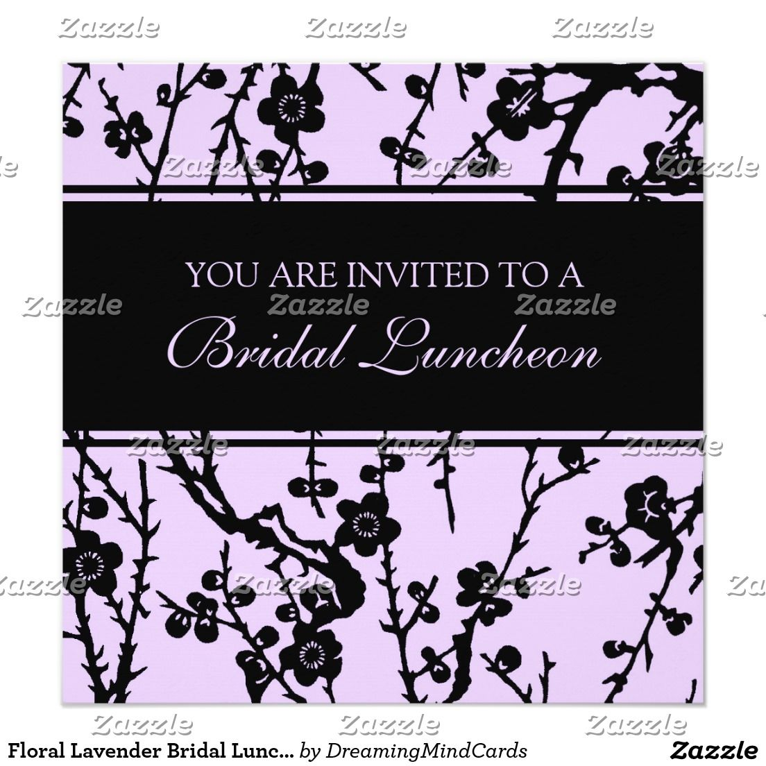 Floral Lavender Bridal Luncheon Invitation Cards