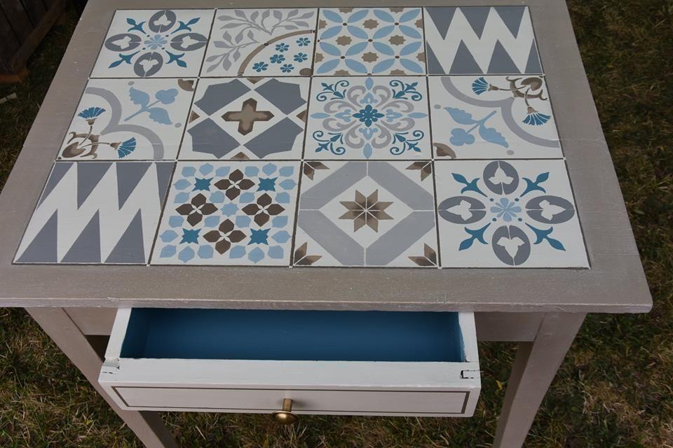pochoir carreaux de cilent design exclusif eleonore d co. Black Bedroom Furniture Sets. Home Design Ideas
