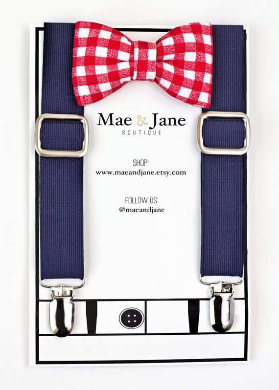 a49361605767 Boys Bow Tie and Suspenders SET! Red Gingham boys bow tie with Navy Blue  suspender, Christmas, weddi