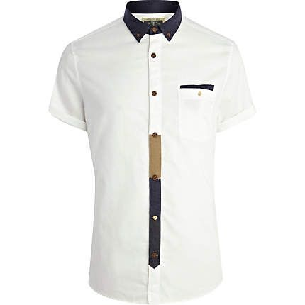 White Holloway Road contrast placket shirt  4b356753fbc
