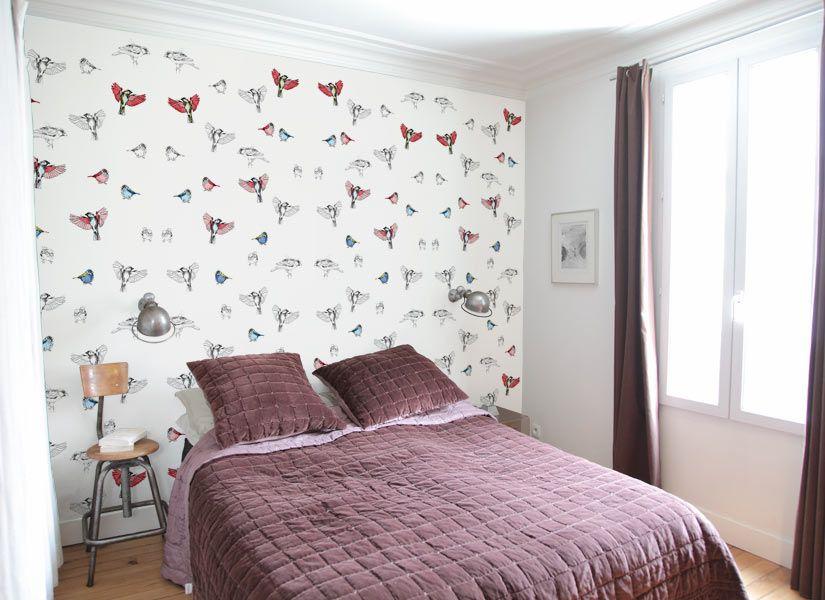 Papier peint les oiseaux de pierrot en couleur panoramique par louise olivere - Papier peint oiseaux ...