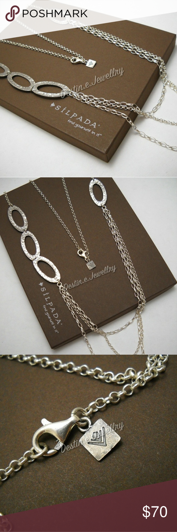"""Designer SILPADA Sterling Silver Necklace (N1720) Sterling silver measuring 32"""" with three cascasing strands. It's perfectly clean and in like-new condition. Box used for display only (sorry!). Silpada Jewelry Necklaces"""