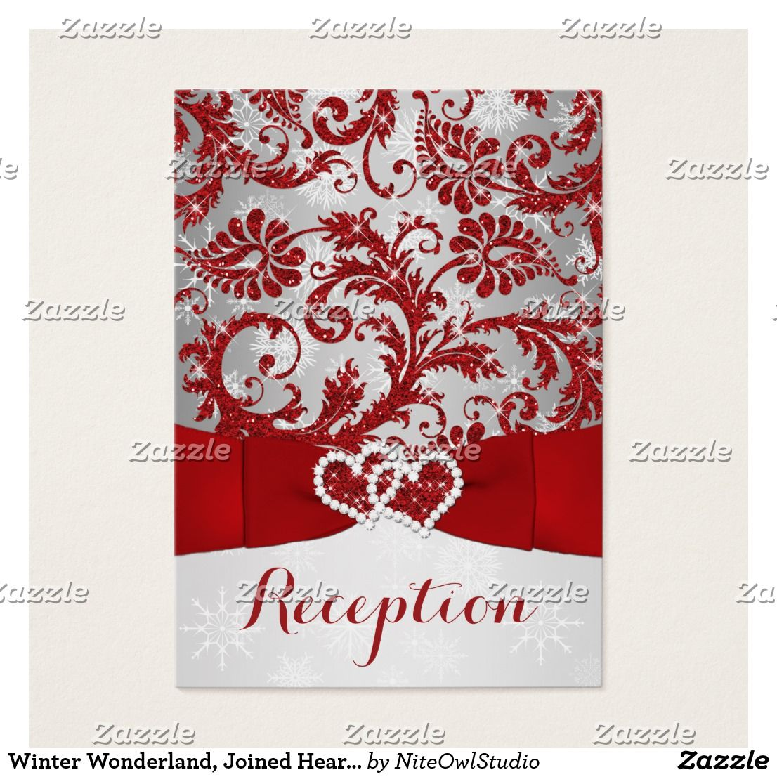 Winter Wonderland, Joined Hearts Insert - Red This elegant red and ...