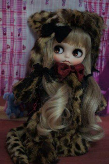 Custom Blythe ♪ Leopard-chan by Pretty ♪  Buy her here:   #blythe #blythedolls #kawaii #cute #rinkya #japan #collectibles #neoblythe #customblythe