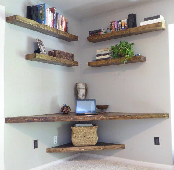 Floating Corner Desk& Modern Corner Desk& Floating by WoodWinn
