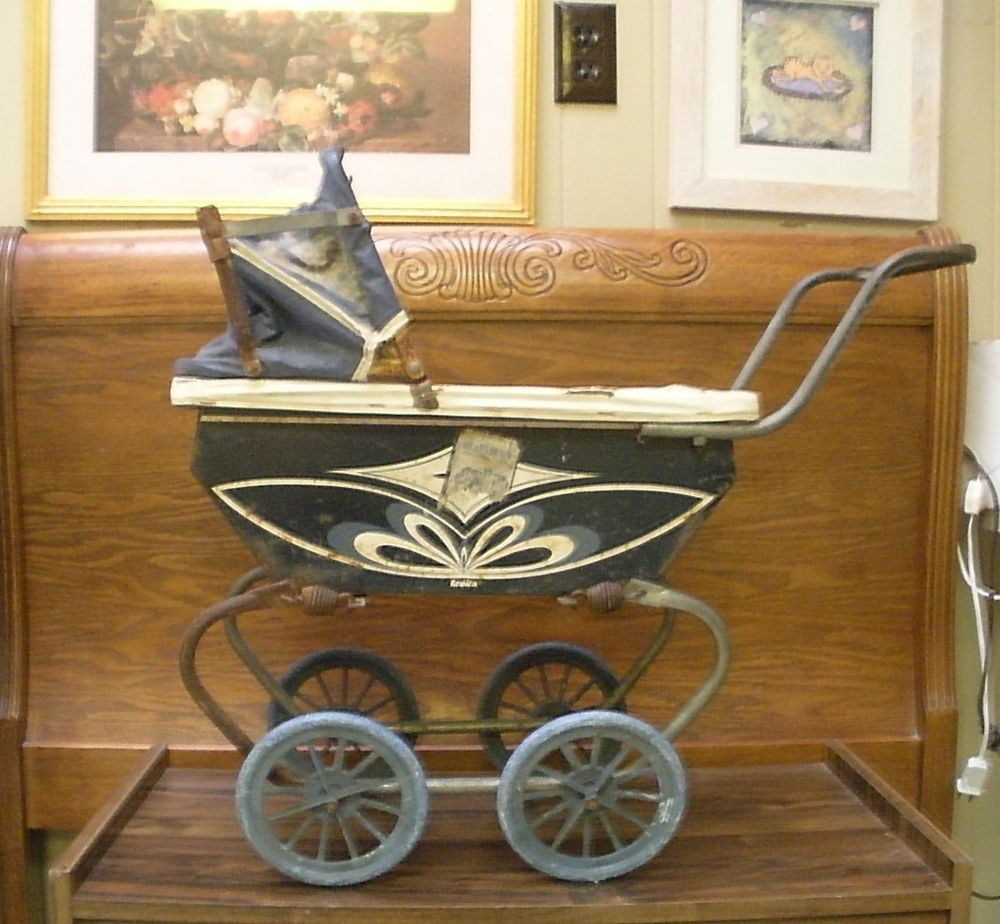 Vintage Toy Stroller Vintage Antique Crown Metal Baby Doll Stroller Carriage Pram