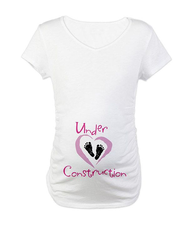 6be6f87003b4c This White 'Under Construction' Maternity V-Neck Tee - Women & Plus by  CafePress is perfect! #zulilyfinds