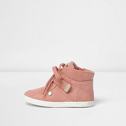 Mini girls pink hi top trainers $40.00