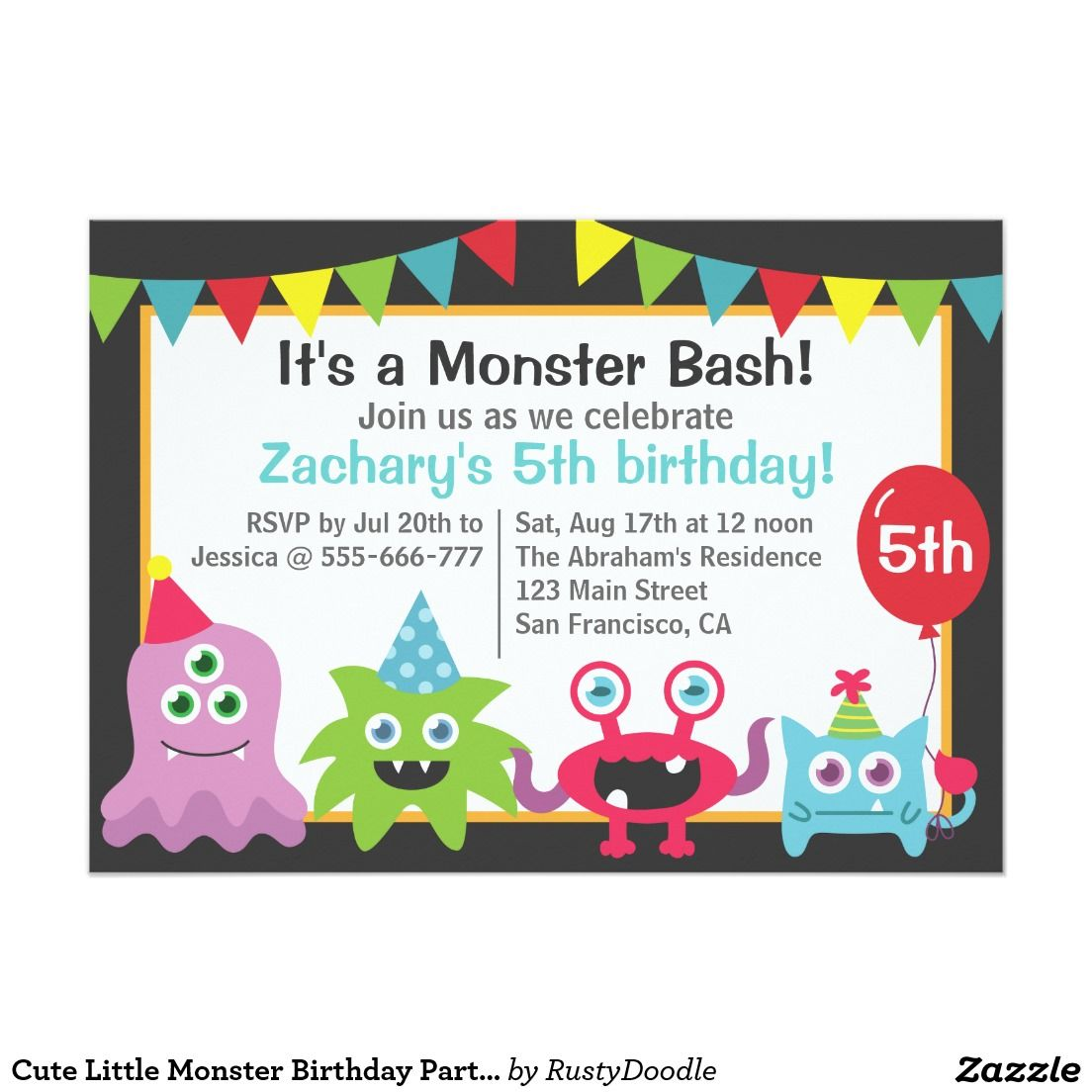Cute Little Monster Birthday Party Bash for Kids Invitation ...