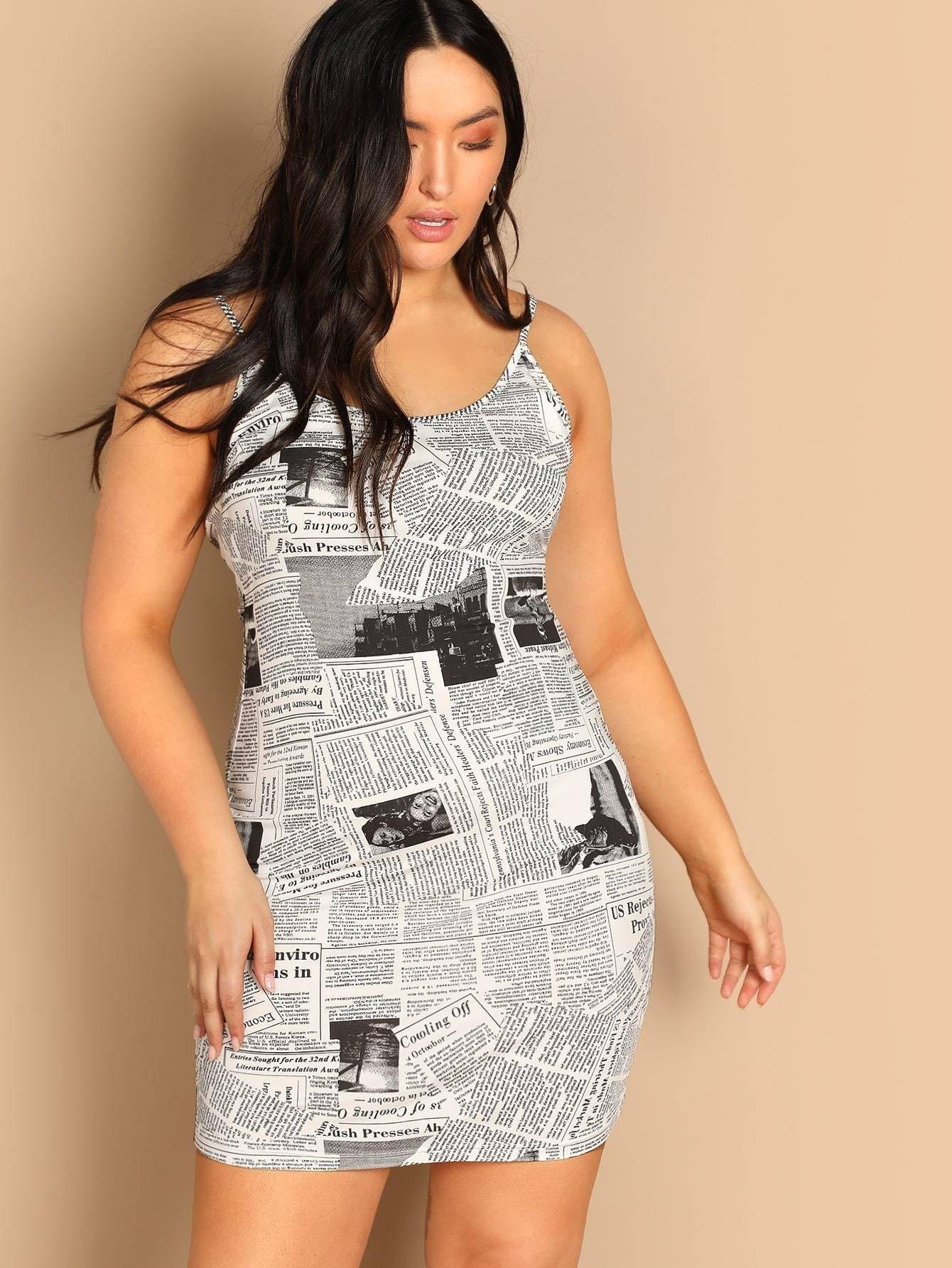 62a38446544d Plus Size Newspaper Print Black   White Cami Dress Multi Sizes FREE SHIP