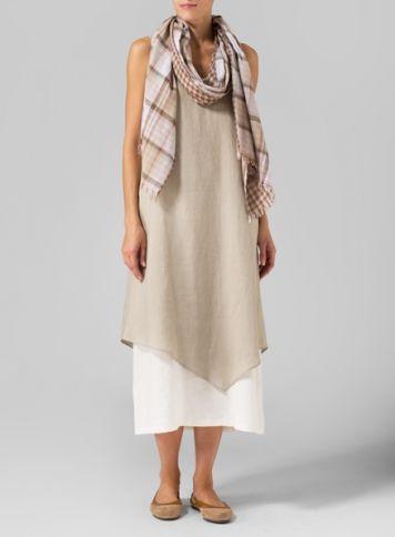 95de476133e Linen Double Layered Long Dress With Cotton Long Scarf