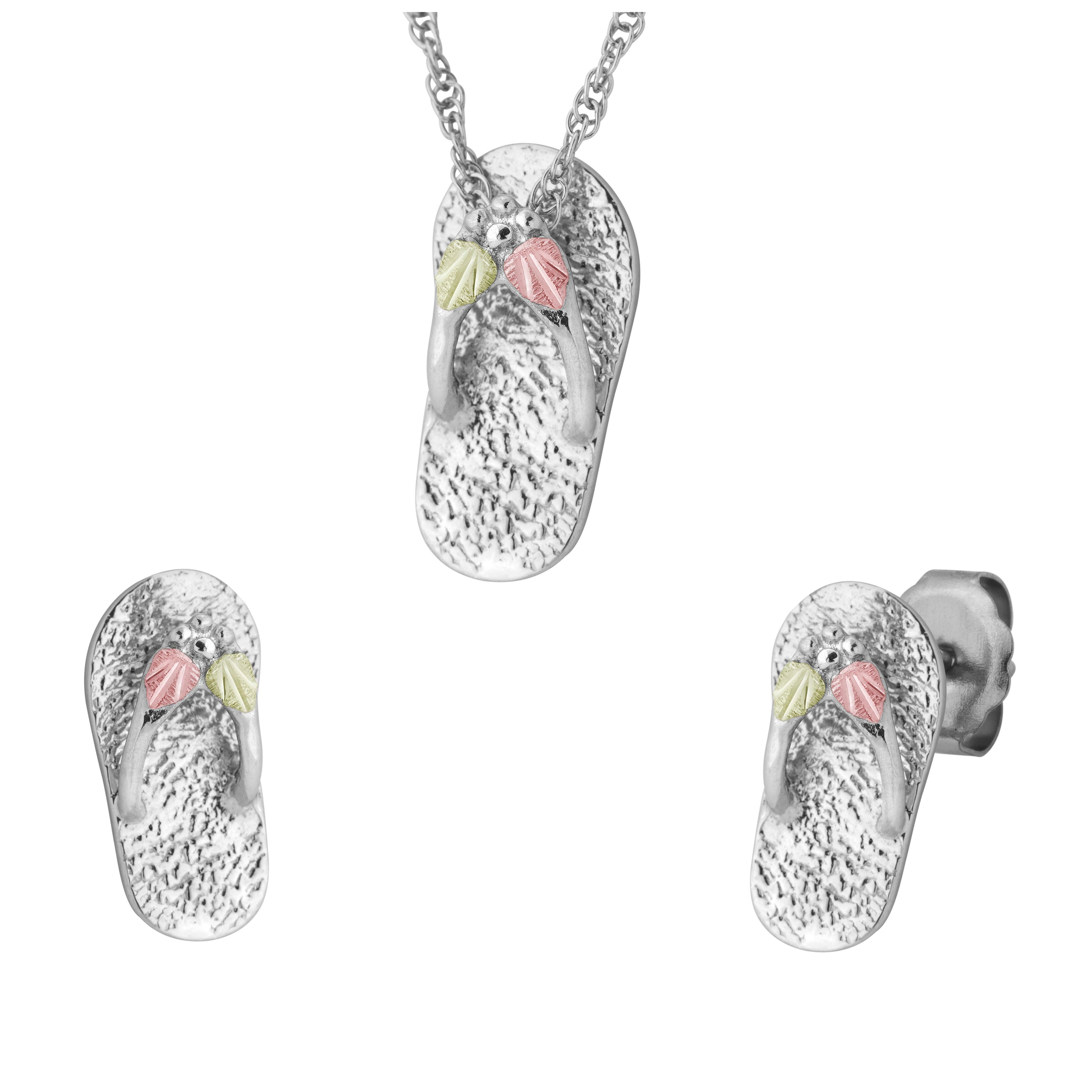Sterling on black hills gold slippers earrings u pendant set black